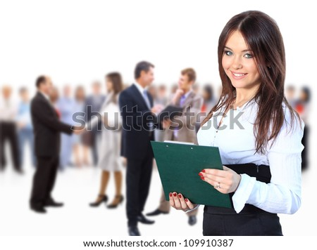 business woman leading her team isolated over a white background - stock photo