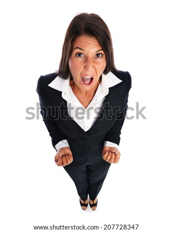 Business woman looking angry upset at the camera.   Isolated on a white background. - stock photo