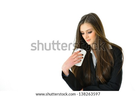 Business Woman Looking at her Beverage Thinking - stock photo
