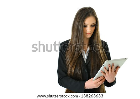 Business Woman Looking at her Tablet - stock photo