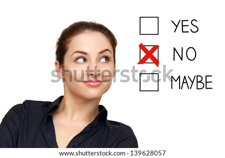Business woman looking on option and select no decision isolated on white background - stock photo