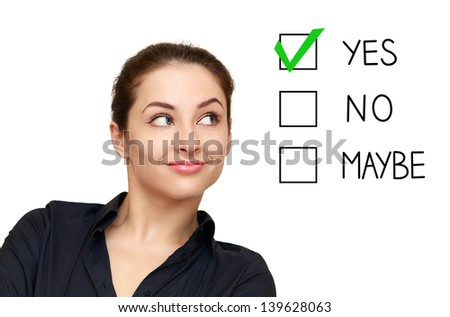Business woman looking on option and select yes decision isolated on white background - stock photo