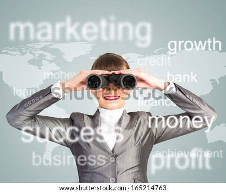 business woman looking through binoculars, concept search solutions in business - stock photo