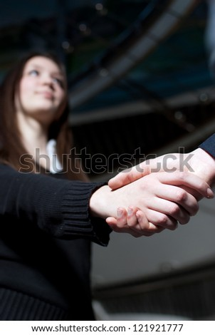 Business woman making a good deal! - stock photo