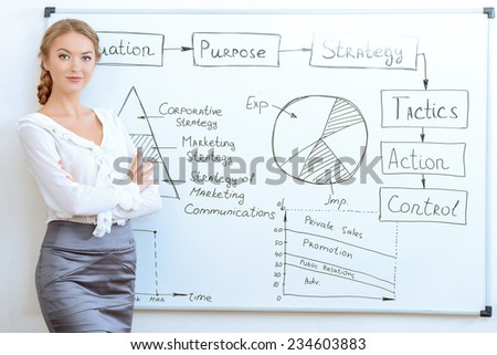 Business woman making a presentation at the office. Training, presentation.  - stock photo
