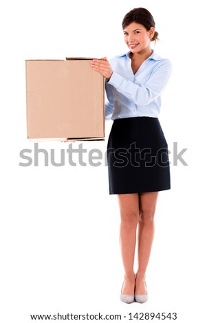Business woman moving and a carrying cardboard box �¢?? isolated - stock photo