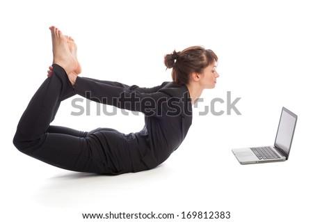 Business woman multi tasking. Studio shot, isolated on white background. - stock photo