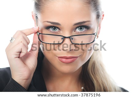 Business woman on a white background - stock photo
