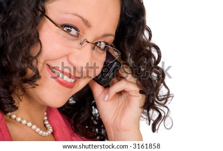 Business woman on the phone - close up over a white background - focus is on the eye near mobile phone - stock photo