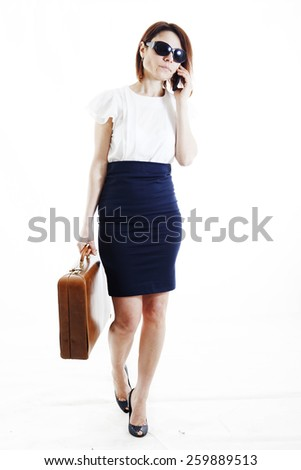 business woman on the phone talking about work - stock photo