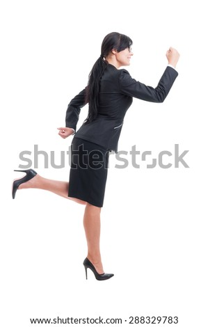 Business woman or saleswoman running. Busy corporate manager concept on white background - stock photo