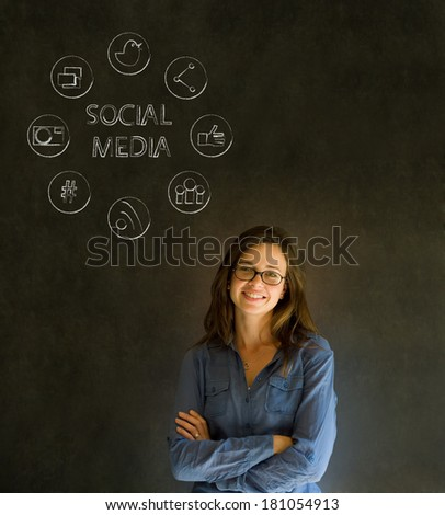 Business woman or teacher with social media icons chalk blackboard background - stock photo