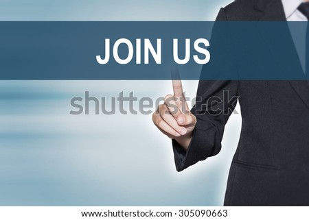 Business woman pointing hand at JOIN US word on virtual screen for business background concept - stock photo