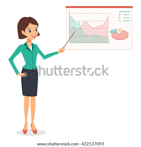 Business woman pointing on graph, diagram. Cheerful smiling woman in business suit making presentation.  person character isolated on white background - stock photo