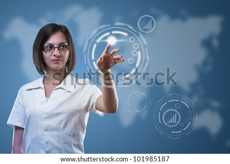 Business woman pointing on sensor screen, high technology concept - stock photo