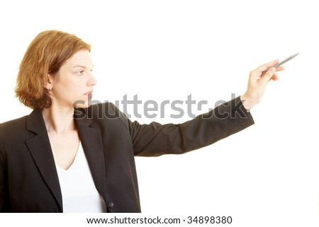Business woman pointing with a pen and counting - stock photo