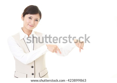 Business woman pointing with her fingers - stock photo