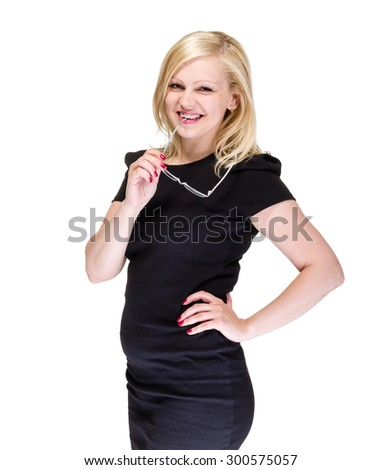 Business woman portrait against isolated white background - stock photo