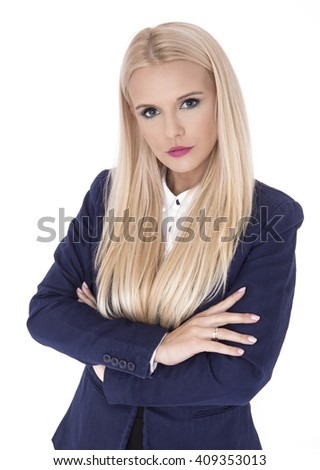 Business woman portrait . Crossed arms . - stock photo