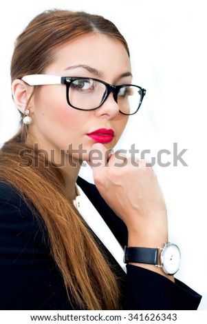Business woman portrait,serious mood.Portrait of smiling business woman, isolated on white background.business woman in glasses.Close-up portrait of attractive businesswoman looking at camera - stock photo