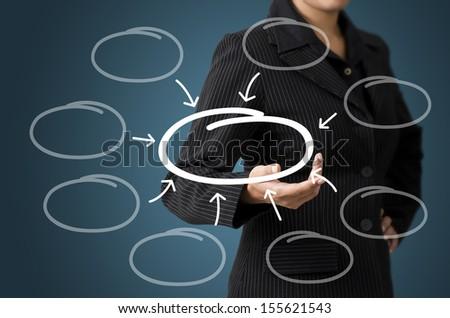 Business Woman Present Business Diagram Concept - stock photo