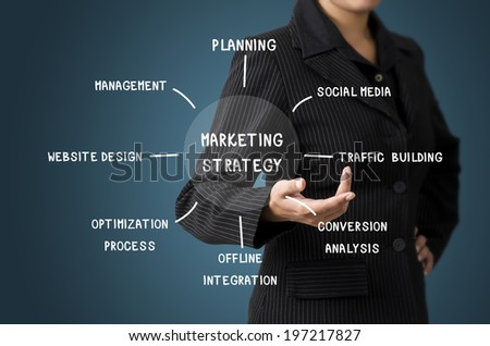 Business Woman Present Business Diagram Marketing Strategy Concept - stock photo