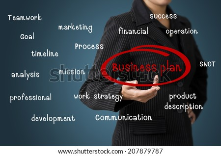 Business woman present Business Plan concept - stock photo