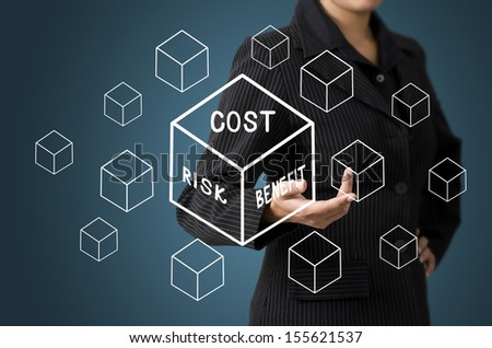 Business Woman Present Cost-Risk-Benefit in Cubic Diagram Concept - stock photo