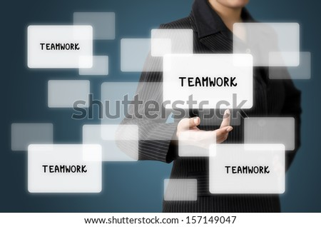 Business Woman Present Teamwork Screen Interface - stock photo