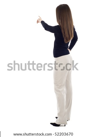 Business woman presenting over a white background, a lot of copyspace,  Left handed - stock photo