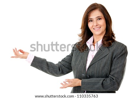 Business woman presenting something - isolated over a white background - stock photo