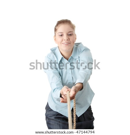 Business woman pulling the rope, isolated on white - stock photo