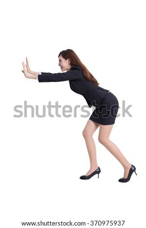 business woman push something isolated on white background, asian - stock photo