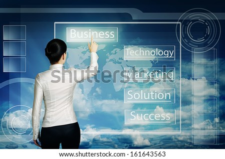 business woman push virtual icon in web interface over blue cloudy sky - stock photo