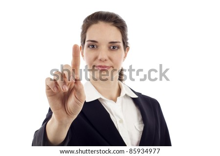 Business woman pushing or pointing a screen isolated over white background - stock photo