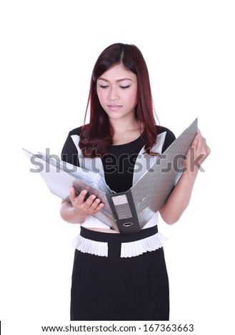 business woman reading document file isolated on white background - stock photo