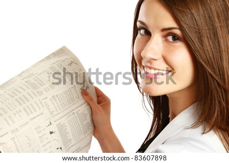Business woman reading  newspaper isolated on white background - stock photo