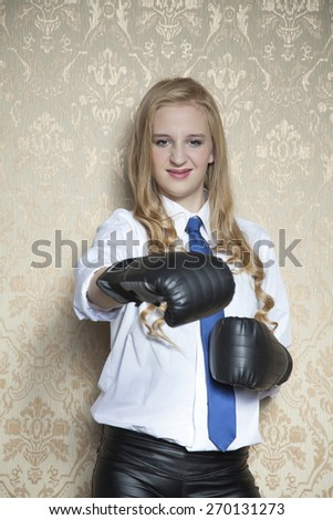 business woman ready to fight - stock photo