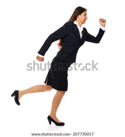 Business woman running fast smiling cheerful. Isolated on white background.  - stock photo