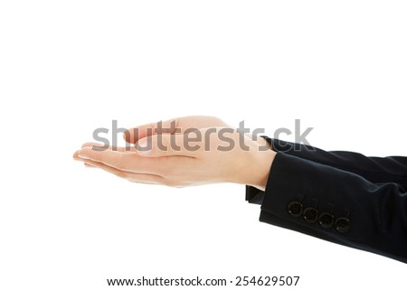 Business woman's hands holding copyspace. - stock photo