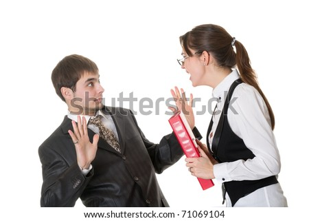Business woman shouting at the staff isolated on white - stock photo