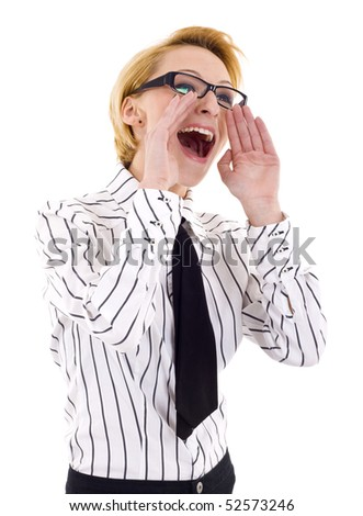 Business Woman Shouting - Isolated over a White Background - stock photo