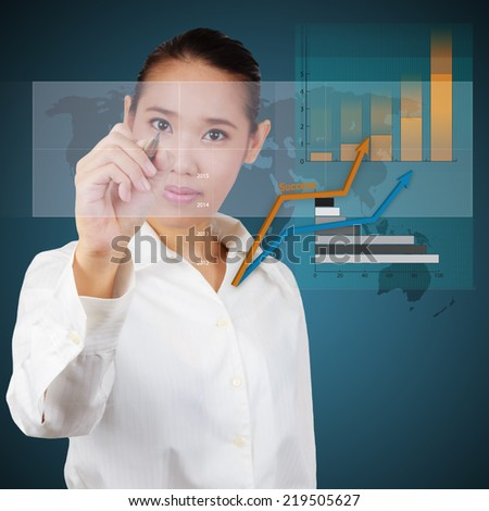Business woman show a virtual graph and business plan. Concept of business strategy - stock photo