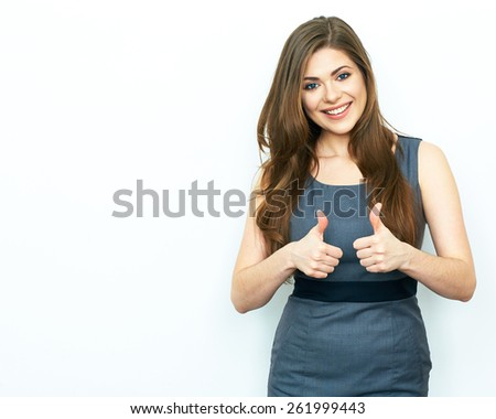 Business Woman show thumb. Success symbol. White background. - stock photo