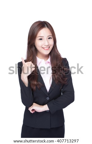 business woman show thumb up isolated on white background, asian beauty - stock photo