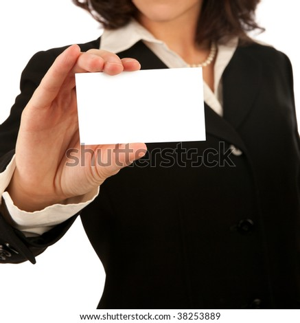 Business woman showing a blank white business card - stock photo