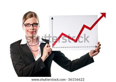 Business woman showing a chart on white background - stock photo