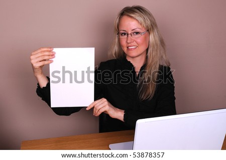 Business woman showing a contract - stock photo