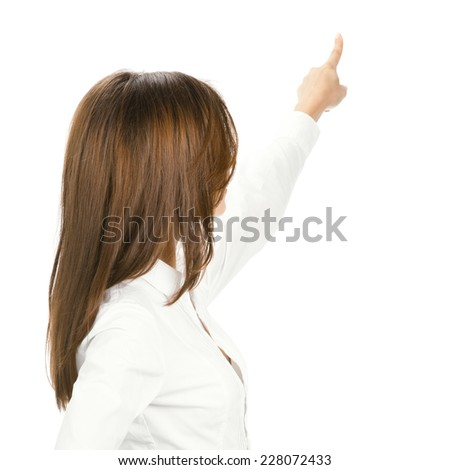 Business woman showing blank area for sign or copyspase, isolated over white background - stock photo