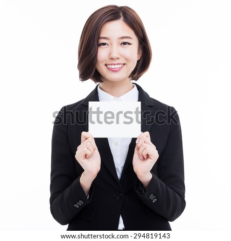 Business woman showing blank card. isolated over white - stock photo